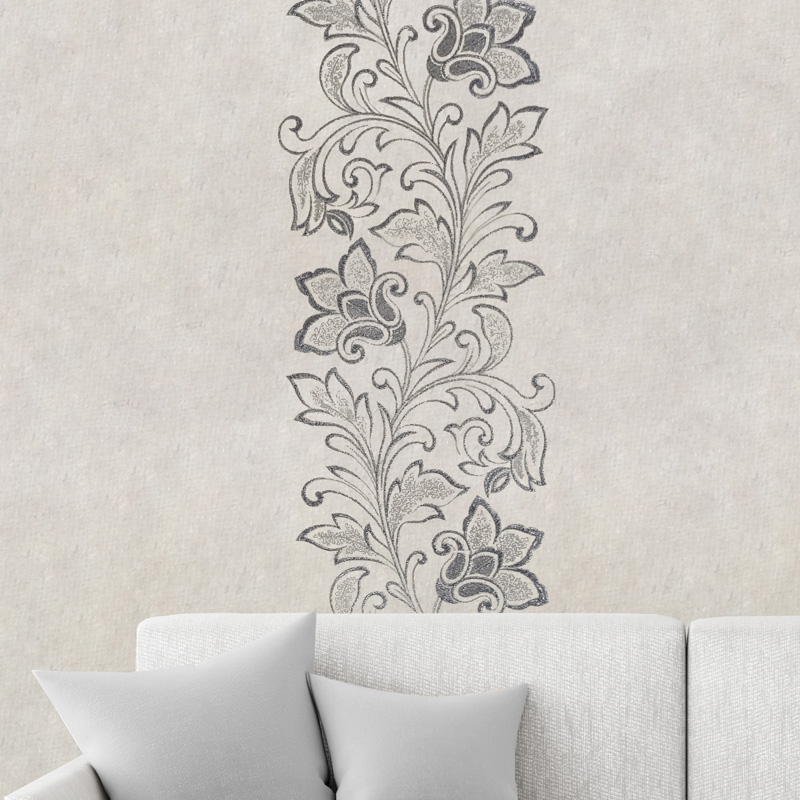 Design flower vine black/silver
